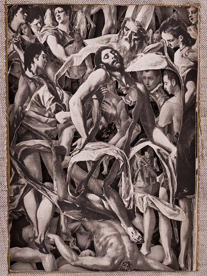 Collage in sepia - Jezus na kruisiging uit schilderijen van oude meester El Greco