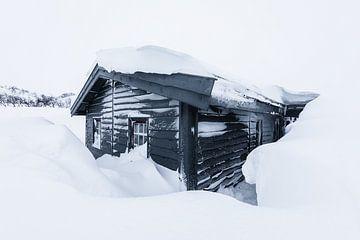 Houten hut in besneeuwd winterlandschap van Martijn Smeets