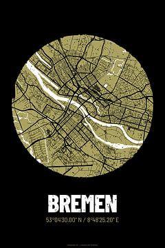 Bremen – City Map Design Stadtplan Karte (Grunge) von ViaMapia
