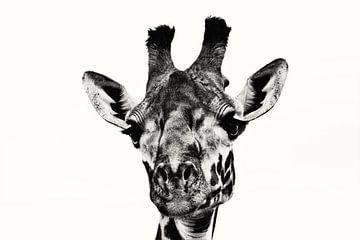 Schwarz-weiße Giraffe von Bart van Mastrigt