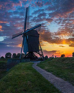 Molen II in Heusden, avondfotografie van Goos den Biesen