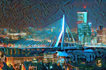 Moderne Malerei Erasmusbrücke Rotterdam von Slimme Kunst.nl
