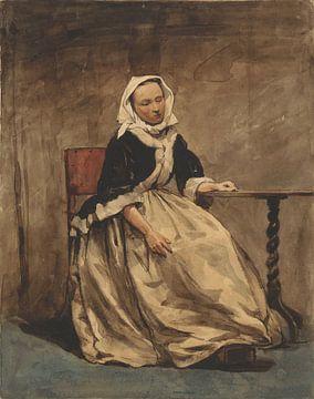 Sitzende Frau neben einem kleinen Tisch, Jan Weissenbruch, 1832 - 1880