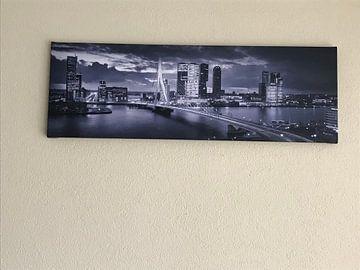 Klantfoto: Skyline Rotterdam Erasmusbrug - Midnight Blue van Vincent Fennis