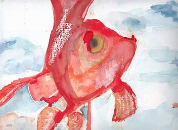 Aquarel van een goudvis van Catharina Mastenbroek
