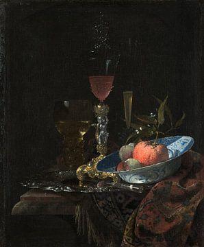 Weinglas und eine Schale Obst, Willem Kalf