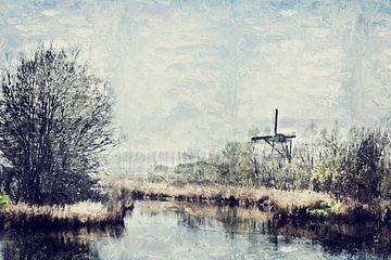 Zeeland Landschaft auf der Insel Tholen einschließlich Windmühle De Jager von Art by Jeronimo