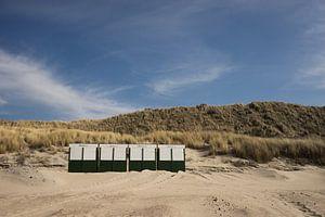 strandhuisjes op het strand in Zeeland