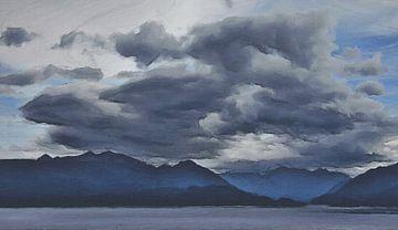 Landschaft - Stürmische Bewölkung über dem See und den Bergen - Neuseeland - Gemälde von Schildersatelier van der Ven
