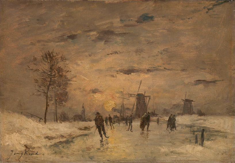Schlittschuhlaufen in Holland, Imitator von Johan Barthold Jongkind von Meesterlijcke Meesters