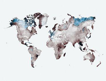 Weltkarte weiß grau blau #Karte #Weltkarte von JBJart Justyna Jaszke