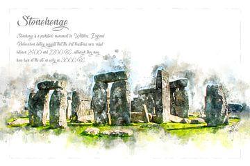 Stonehenge, Waterverf, Engeland van Theodor Decker