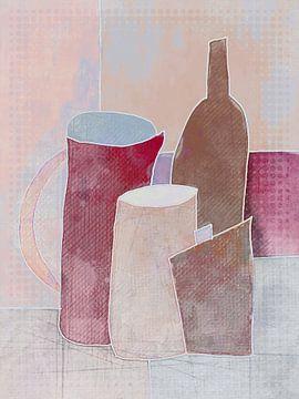 Compositie met fles en kannen van Joost Hogervorst