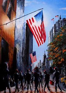 Schilderij 5th Avenue sunset New York City van David Berkhoff