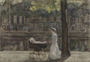Magd mit mit Kinderwagen auf der Keizersgracht, Isaac Israëls