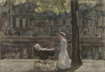 Magd mit mit Kinderwagen auf der Keizersgracht, Isaac Israëls von