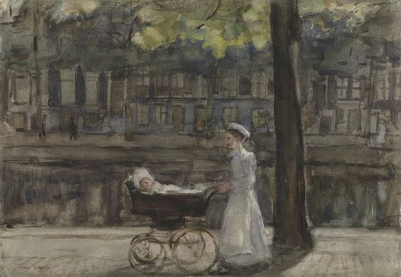 Dienstmeisje met kinderwagen op de Keizersgracht, Isaac Israels