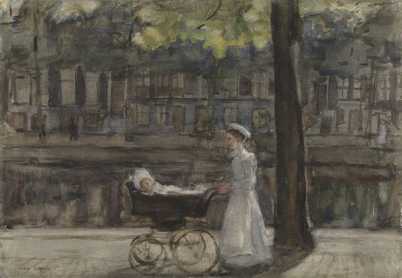 Magd mit mit Kinderwagen auf der Keizersgracht, Isaac Israëls von Meesterlijcke Meesters