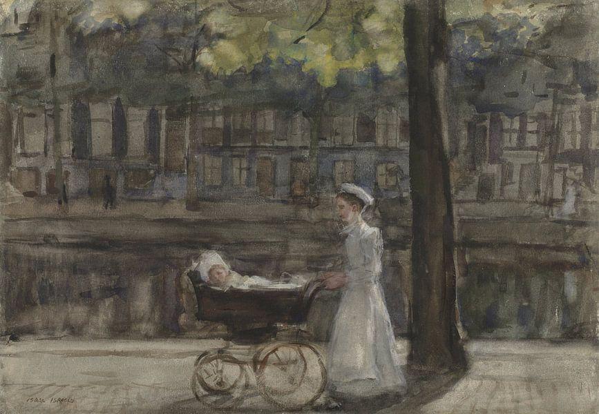 Dienstmeisje met kinderwagen op de Keizersgracht, Isaac Israels van Meesterlijcke Meesters