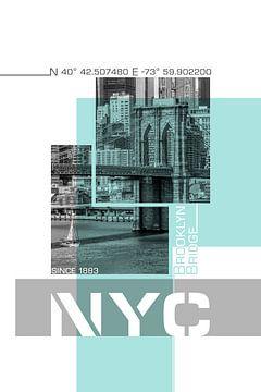 Poster Art NYC Brooklyn Bridge & Skyline van
