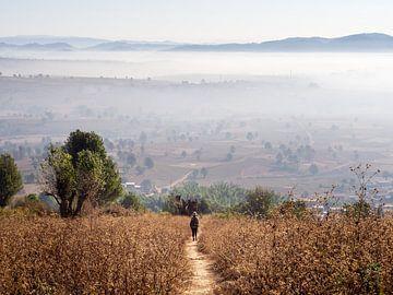 Wandelend de Birmese zonsopkomst tegemoet in de heuvels van Kalaw van Rik Pijnenburg
