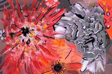 Mischtechnik mit verschiedenen Blumen. von Therese Brals
