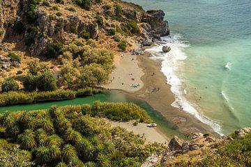 Palm beach de Preveli, Crète sur Peter Schickert