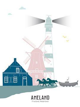 Abbildung der Skyline der friesischen Insel Ameland in Farbe von Mevrouw Emmer