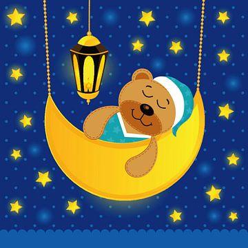 Schlafender Teddybär auf dem Mond von Atelier Liesjes