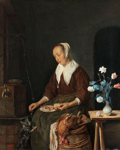 Vrouw aan de maaltijd, bekend als 'Het ontbijt van de kat', Gabriël Metsu van Meesterlijcke Meesters
