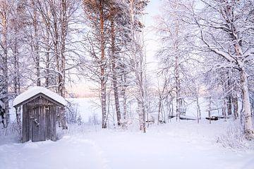Mini-Häuschen im Schnee in Lappland von elma maaskant