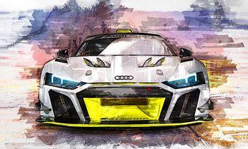 Audi R8 schilderij aquarel van Bert Hooijer
