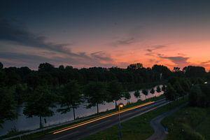 Zonsondergang van Starkenborghkanaal te Groningen van