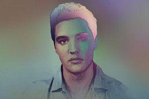 Elvis Presley Modernes abstraktes Porträt in Blau, Orange, Lila
