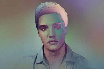 Elvis Presley Modernes abstraktes Porträt in Blau, Orange, Lila von Art By Dominic