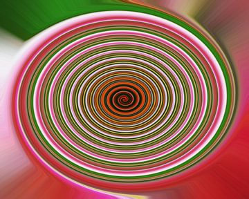 Rondingen met roze, groene, oranje en witte kleuren van JM de Jong-Jansen