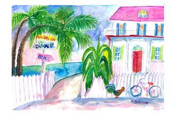 Key West Pink House und Wegweiser mit Fahrrad von Markus Bleichner