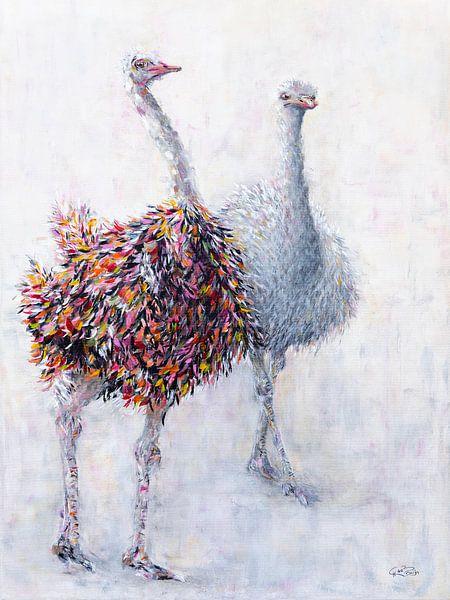 Struisvogelpaar van Carmen de Bruijn
