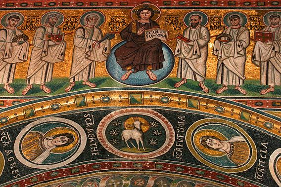 Mozaïek in de Eufrasiusbasiliek in Porec van Antwan Janssen