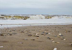 Golven aan strand met schelpen van Moniek van Rijbroek