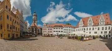 Marktplein met terrassen, Meißen, Saksen, Duitsland van Rene van der Meer