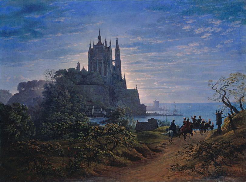 Gotische Kirche auf einem Felsen am Meer, Karl Friedrich Schinkel von Meesterlijcke Meesters
