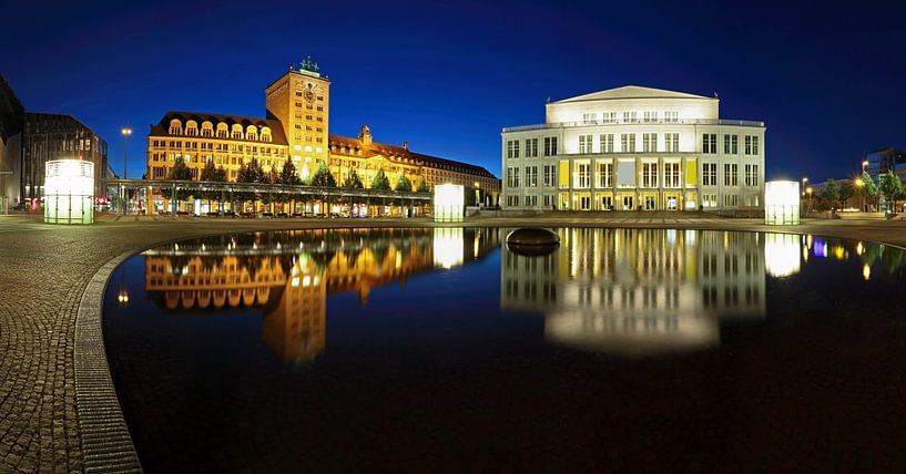 Leipzig - Gratte-ciel Kroch et opéra sur l'Augustusplatz sur Frank Herrmann