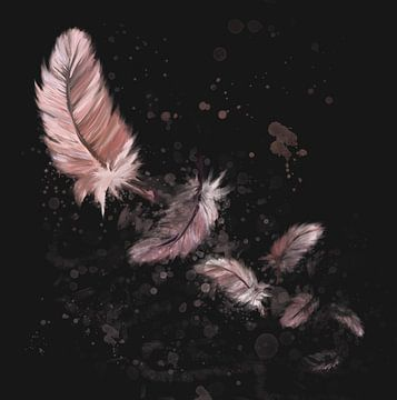 Zeven roze flamingo veertjes tegen donkere achtergrond van Emiel de Lange
