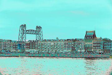 Rotterdam - Willemsbrug en omgeving - Maaskade in groen tinten van Ineke Duijzer