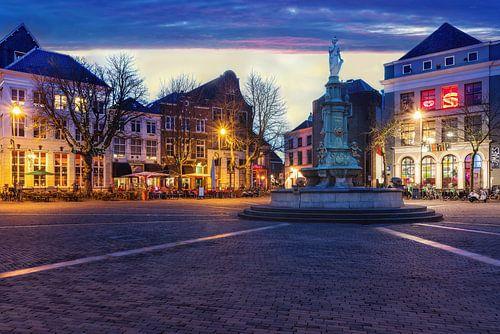 Brink van Deventer Overijssel tijdens zonsondergang