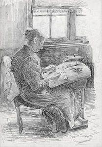 Mart van Regteren, Kantklossende vrouw, rond 1900