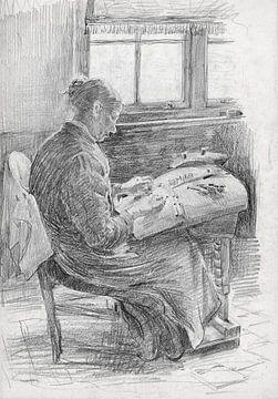 Mart van Regteren, Kantklossende vrouw, rond 1900 van Atelier Liesjes