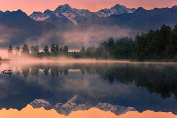 Lever du soleil au lac Matheson, Nouvelle-Zélande sur Henk Meijer Photography