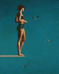 Schilderij van een vrouw die op een duikplank staat van Jan Keteleer